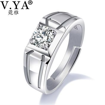 V.YA 925 Silver Wedding Ring Adjustable Size Wide Finger Ring Classic Big Size Men Engagement Wedding Jewelry Statement Biker