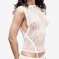 White Camisole with Suspenders / White Lace Slip / White Slip / White Cami with Garter Belt / White Lingerie / Bridal Gift / Wedding Gift