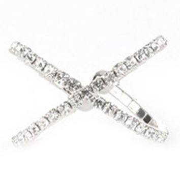 Pave Crystal Cross Cuff Ring