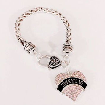 Sweet 16 Crystal Pink Heart Sixteen Birthday Gift Daughter Friend Charm Bracelet