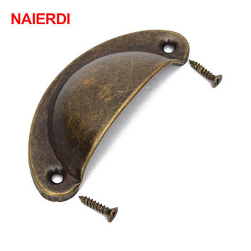 NAIERDI 2PCS Retro Metal Kitchen Drawer Cabinet Door Handle Furniture Knobs Hardware Cupboard Antique Brass Shell Pull Handles
