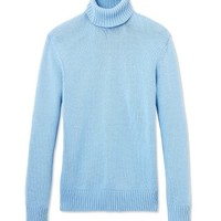 Michael Kors Ice Blue Turtleneck Top - Light Blue Turtleneck - ShopBAZAAR