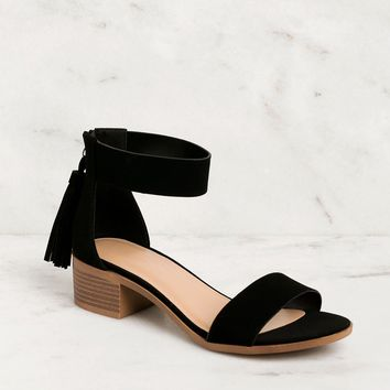 Daytime Black Low Block Heel Sandals