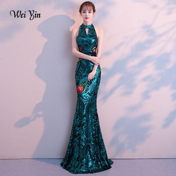 weiyin 2018 New Sexy Mermaid Long Evening Dresses Vestido de Festa Luxury Green Sequin Formal Party Dress Prom Gowns