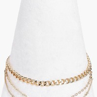 Multi Layered Diamante Chain Choker | Boohoo