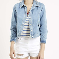Light Blue Denim Long-Sleeve Collar Button Jacket