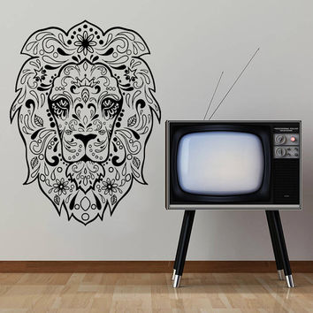Wall Decal Vinyl Sticker Decals Art Home Decor Mural Lion Sugar Skull Tattoo Floral Pattern Damask dia de los muertos Horror Zombie AN228