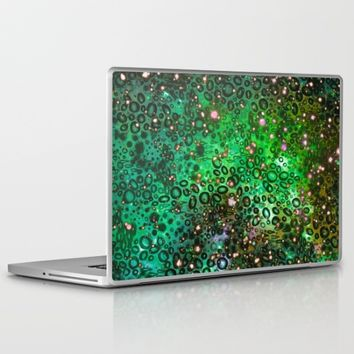 RAINBOW DOTTY OCEAN 3 Green Lime Ombre Space Galaxy Colorful Polka Dot Bubbles Abstract Painting Art Laptop & iPad Skin by EbiEmporium