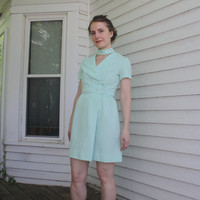 60s Seafoam Mod Dress Retro Mini Vintage 1960s Gay Gibson XS
