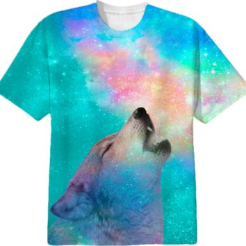Dreamer of Dreams: Galaxy Wolf Howl Unisex T-Shirt (Limited Edition) by soaringanchordesigns