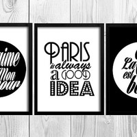 3 FRENCH PRINT SET Typography Poster Quote Wall Art Typographic Print Paris Print Home Decor Typography Paris A4