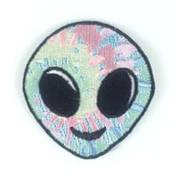 Alien Head Patch / Iron-On, Embroidered Patch / Applique – Tie Dye Alien Emoji !!!