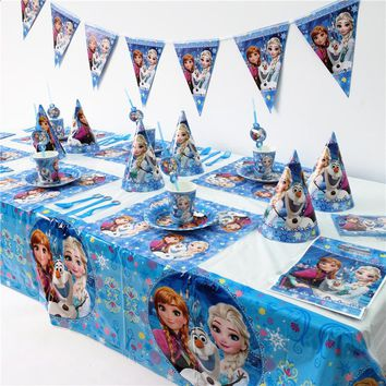 Disney Frozen Princess Anna Elsa Kids Birthday Party Decoration Set Party Supplies Baby Birthday Party Pack event party supplies