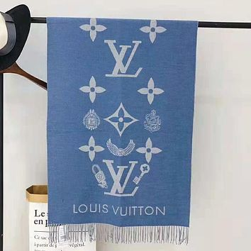LV Louis Vuitton Fashionable Women Men Tassel Cashmere Cape Scarf Scarves Shawl Accessories Blue