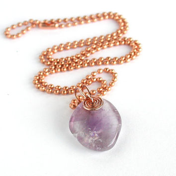 Tumbled Stone Necklace, Pale Purple Amethyst, Copper Wire-wrapped Bail and Bead Chain, 24-inch, Simple Natural Stone Necklace