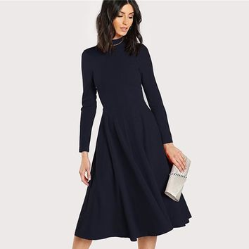 Navy Mock Neck Fit and Flare Dress Women Long Sleeve Party Dresses Office Ladies High Waist Elegant Midi Dress