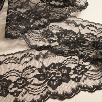 "Black with Silver Lace Trim, 4"" wide, Apparel, Lingerie, Bridal Accessories, Lace for Invitations, Mason Jars, Decorative Lace Trim, 5 YARDS"