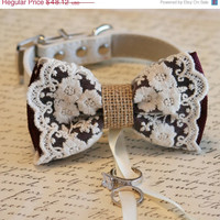 Marsala Lace Dog Bow Tie, Lace and Burlap, Dog ring bearer, Pet wedding accessory, Marsala wedding, color of 2015, Proposal