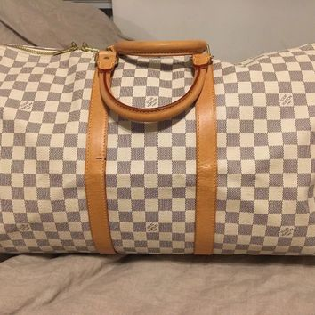 AUTHENTIC LOUIS VUITTON Keepall 50 Azur Damier Luggage