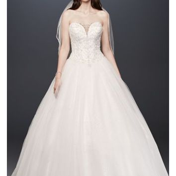 Beaded Illusion Bodice Ball Gown Wedding Dress | David's Bridal