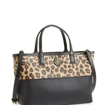 Tory Burch Kerrington Ocelot and Black Mini Shopper