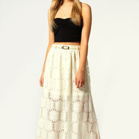 Katie Belted Lace Maxi Skirt