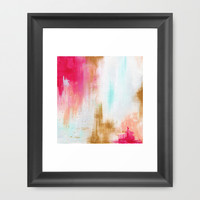 Pink & Gold Abstract Acrylic Painting Framed Art Print by Koma Art