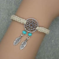 Antique Silver Dream Catcher Bracelet , Hemp Bracelet, Feather Bracelet , Beads Bracelet ,Native American Jewelry