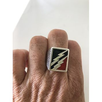 Vintage Native American Style Southwestern Real Red Coral Stone Inlay Mens Ring