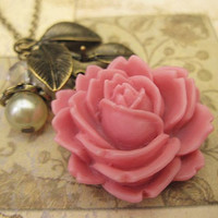 Sweet Rose with pearl crystal and leaves by trinketsforkeeps