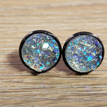 Druzy earrings- Grey drusy Black stud druzy earrings