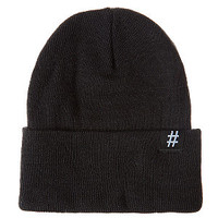 Black Turn Up Hash Tag Beanie