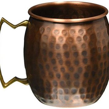 STREET CRAFT Hand Hammered Antique Finish Copper Moscow Mule Mug 16 Oz Brown Set Of 2