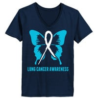 Lung Cancer Awareness - Ladies' V-Neck T-Shirt