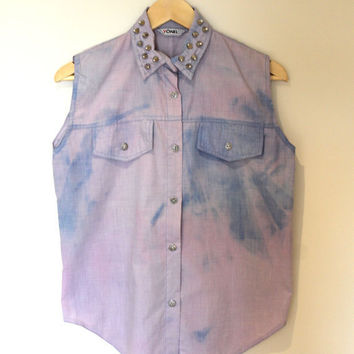 Lilac pastel tie dye sleeveless shirt with studded collar