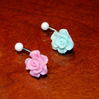 2 Pack of Rose Belly Ring (Includes 2 Belly Rings) Light Pink Red Jewelry Light Blue Teal Tiffany Flower Piercing Bud Rosebud Leaf Pedals