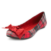 Charlotte Russe - Plaid Flannel Flat with Bow