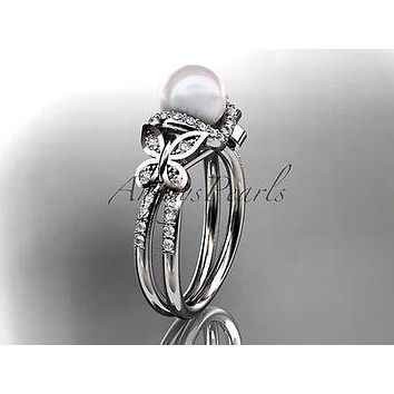 Platinum diamond pearl unique engagement ring, butterfly wedding ring AP141