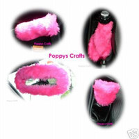 Cute Barbie Pink fluffy car accessories set fuzzy Gear knob, gaiter, mirror, and handbrake covers faux fur girly girl
