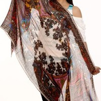 Exotic India Multi-Color Stole with Antique Akbari Print and Ivory Core - Ivory