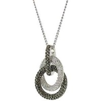 Judith Jack Sterling Silver Marcasite and Crystal Pave Knot Pendant Necklace, 16""