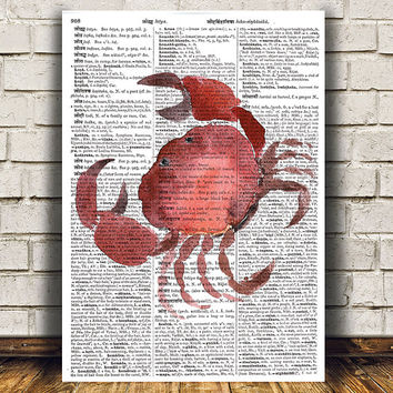 Crab decor Nautical poster Beach house print Dictionary print RTA1660