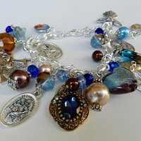 Religious Charm Bracelet Catholic Holy Medal Saints Jesus  Beaded Christian Bracelet