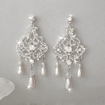 Best chandelier pearl earrings for wedding products on wanelo bridal earrings chandelier earrings wedding earrings swarovs mozeypictures Image collections