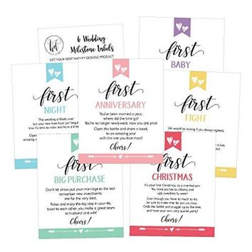 6 Cute Wedding Milestones Gift Wine Bottle Labels or Sticker Covers Bridal Shower Bachelorette Engagement Party Present Perfect Best Registry For Bride To Be Firsts For The Newlywed Couple Ideas