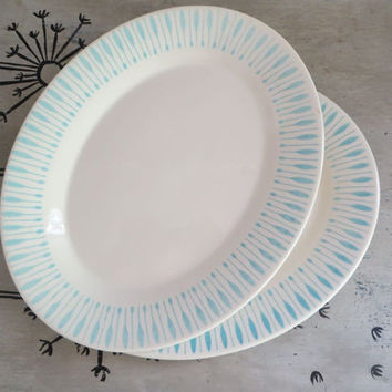 Oval Plate Oval Plater Stoneware Plate Turquoise Plate Steak Plate Serving Platter Serving Plate Dinner Plate Grill Plate