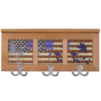 Antiqued American Flag With Blue Roses Coat Rack