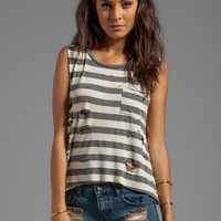 DAYDREAMER Destroyed Pocket Muscle Tank in Erosion Stripe from REVOLVEclothing.com