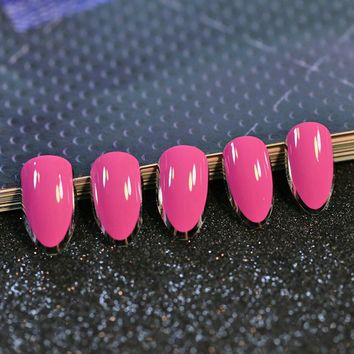 24pcs Oval sharp end stiletto False Nails Hot Pink with Silver Side Fake Nails Full Acrylic Nails Tips nep nagels