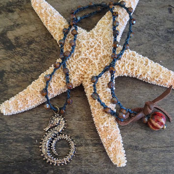 "Sea Horse Crochet & Leather Necklace ""Beach Chic"" Surfer Paradise"